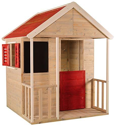 Wendi Toys Kinder Sommerhaus aus Holz | Garten Spielhaus öffnen mit Balkon, Spielzeug Regal,...