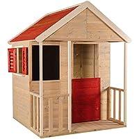 Wendi Toys Casa de Juegos de Madera de Verano para niños | Casa de Juegos para niños, jardín, Tipo Abierto, tamaño M, con balcón, Estante para Juguetes, persianas, Pizarra