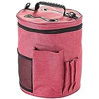 Bolsa de almacenamiento de tejido de punto/ganchillo, HomeYoo Bolsa para hilos de tejer/ganchillo portátil, ligera y fácil de transportar con bolsillos para accesorios y ranuras en la parte superior para dispensar la lana, que protegen el hilo y evitan que se enrede (Grande)