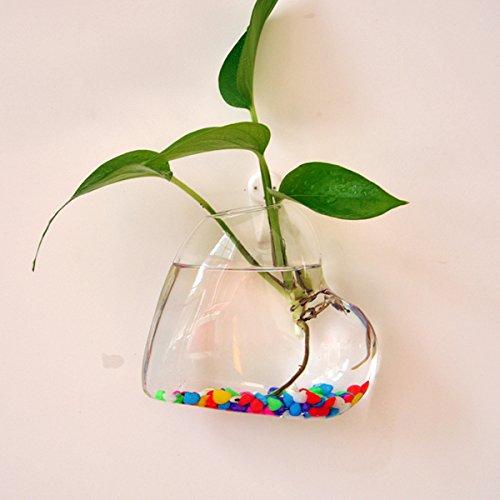 LOVIVER Herzförmige Hängende Glas Blumenvase Flasche Hydroponic Terrarium Container -