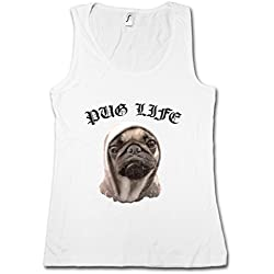 PUG LIFE I MUJER CAMISETA SIN MANGAS TANK TOP – doguillo carlino Hip Hop Ghetto Life Gangster OG Criminal Rap Mobster Tamaños S – XL
