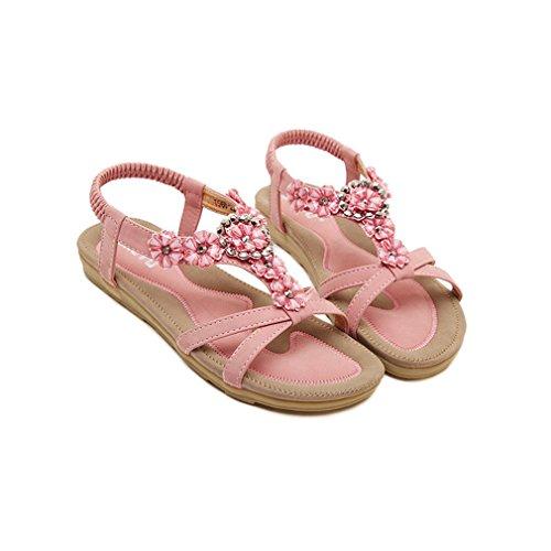 Damen Sommer Bohemia Schuhe Strass Flach Flip-Flop Mädchen Bequeme Strand Zehentrenner Sandalen Pink-2