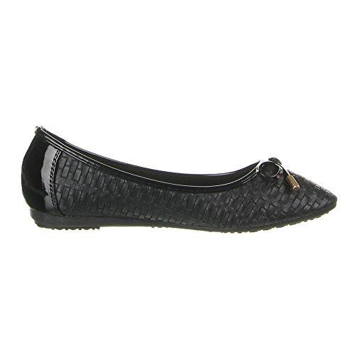 Damen Schuhe, 564-1, BALLERINAS Schwarz