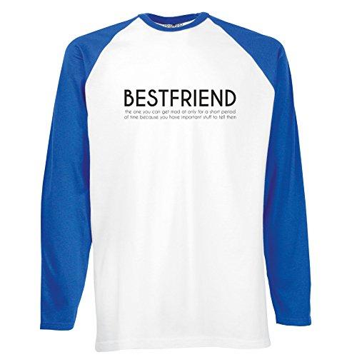 Brand88 - Bestfriend, Langarm Baseball T-Shirt Weiss & Blau