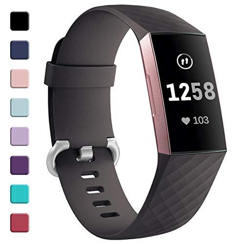 HUMENN Armband für Fitbit Charge 3, Klassisch Armbänder Einstellbare Ersatzband für Fitbit Charge 3 Aktivitäts Tracker, Groß Braun