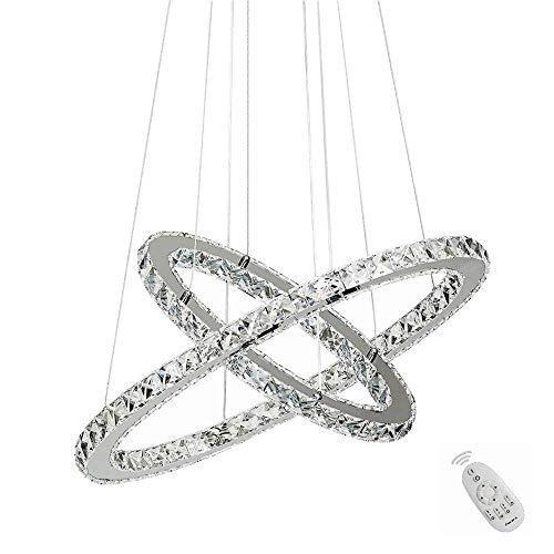 48W LED Kristall Design Hängelampe Deckenlampe Pendelleuchte Kreative Kronleuchter Zwei Ringe Dimmbar Lüster (48W Dimmbar)