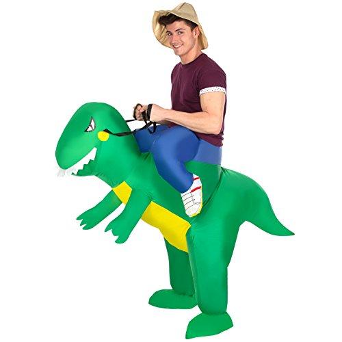 Morph MCROITR Aufblasbares Kostüm, Unisex, T-Rex Fahren, Einheitsgröße Erwachsene (Aufblasbare Trex Erwachsene Kostüme)