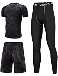 Lvguang Uomo Fitness Palestra Completi Sportivi Abbigliamento Sportivo  Compressivo Maglie e T-Shirt Pantaloni Collant a… fa97aa535b4