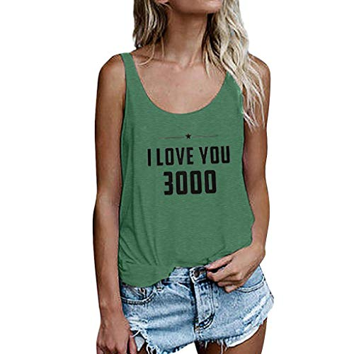 Bfmyxgs Ich Liebe Dich 3000 Frauen Druck Weste Sleeveless Lose Crop Tops Tank Bluse The Avengers T-Shirts - Liebe Ich Höschen