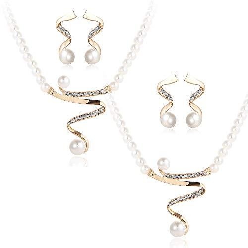 YuandCheng Halskette Schmuck Ornament Perlenkette Perlenohrringe Set - Pure Love Concept Perlenanhänger Schmuck für Hochzeitsfest-Abendkleid Geburtstagsgeschenk Schwester Freund Tochter (Keychain Spaß Licht)