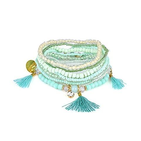 Lureme bohémien Beads Cristal Tassels Multi Strand Bracelet empilable texturé Set-Aqua
