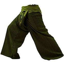 2 tonos Pescador Pantalones Tailandeses Pantalones Tamaño Libre Yoga Algodón (1101)