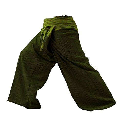 2 Ton Thai Fisherman Hose Yoga Hosen gratis Größe Plus Size Cotton Drill Olive Green Stripe