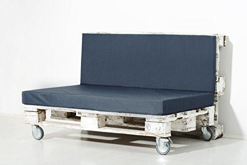 Palemare Palettenkissen Palettenpolster RG50 Nylon 120x80x15cm (Nur Sitzkissen) Indoor Outdoor Bezug Blau waschbar