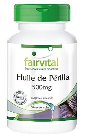 Huile de Périlla 500mg - par capsule - Perilla frutescens 500mg contient 70mg d'acides oléiques, 75mg d'acides linoléiques et 300mg d'acides alpha-linolénique - 90 capsules molles - Bonne alternative à l'huile de poisson