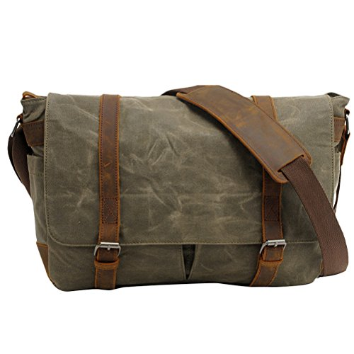 Zhhlaixing Borsa casuale Casual Canvas Camera Shoulder Bag Batik Leather SLR Waterproof Bags Green