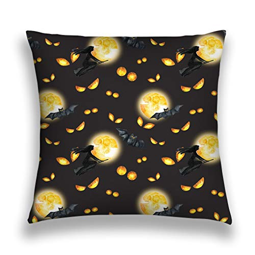 ge Throw Pillow Cover Pillowcase Happy Halloween Background Evil Eyes Full Moon Flying Witch Watercolor Horror Night Party Sofa Home Decorative Cushion Case 18