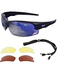 Rapid Eyewear Edge Black PILOT SPEC SUNGLASSES With Interchangeable Lenses for Men & Women. Comply with CAA Recommendations. Also Suitable for Sports Inc. Clcying, Running, Tennis etc
