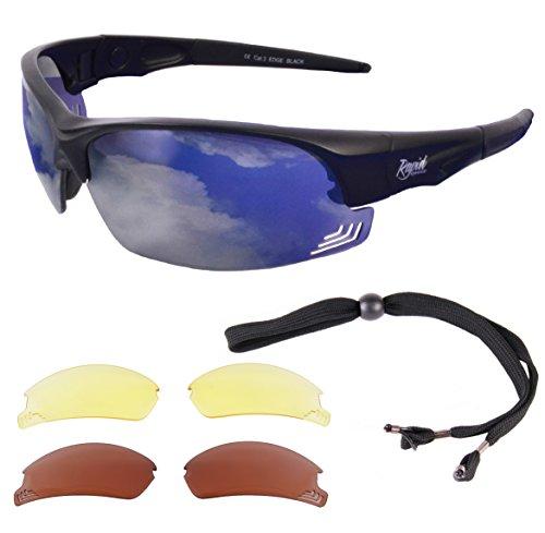 239f4515796 Rapid Eyewear Edge Black PILOT SPEC SUNGLASSES With Interchangeable Lenses  for Men   Women. Comply