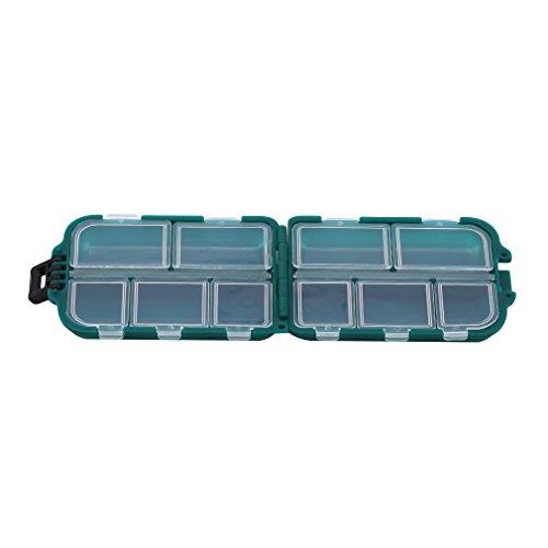 Pinhan Aufbewahrungsbox für Köder, 10 Gitter, wasserdicht, multifunktional, langlebig, zum Angeln, PVC, grün, As The Description