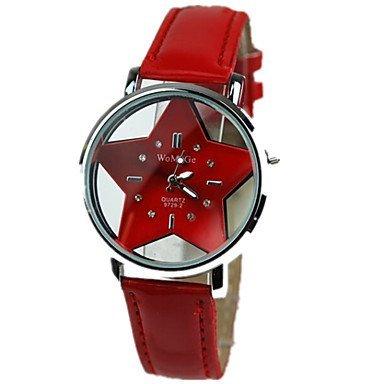 Frauen die hohle transparente Doppelglas-Sterne rote Lederband Uhr beobachten ( Farbe : Rot , Geschlecht : Für Damen )