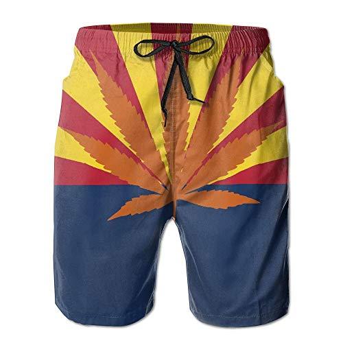 KKONEDS Arizona Weed Flag Men's Summer Beach Quick-Dry Surf Swim Trunks Boardshorts Cargo Pants,Personality Beach Shorts Trucks Pants Mens Quick Dry Beach Shorts XX-Large Arizona Boys Jean