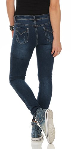Fashion4Young Damen Jeans Röhrenjeans Hose Damenjeans Stretch-Denim Slimline versch. Designs 11389-dunkelblau
