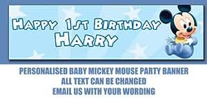 Personalised Banner Banderole personnalisable pour enfant Motif Mickey Mouse 101x28cm