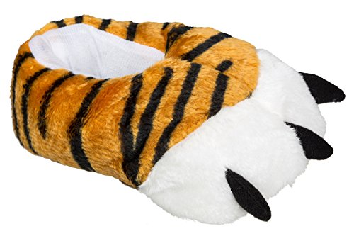 gibra Tierhausschuhe Tigertatzen für Kinder, dick gefüttert, Gr. 28/29-34/35, Braun, 32/33 EU