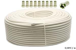 SAT-Kabel HDTV Antennenkabel Koaxialkabel Koax 120dB (4-fach geschirmt) Länge 100m inkl. 10x F-Stecker