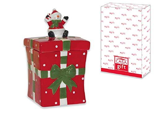 Lgvshopping biscottiera in ceramica porta biscotti natalizio pacco regalo babbo natale 20 cm