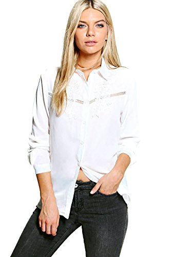 blanc Femme Petite Nicky Embroidered Ladder Trim Shirt Blanc