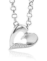 Miore Damen-Halskette Herz 925 Sterling Silber 13 Zirkonia 45cm MSM072P