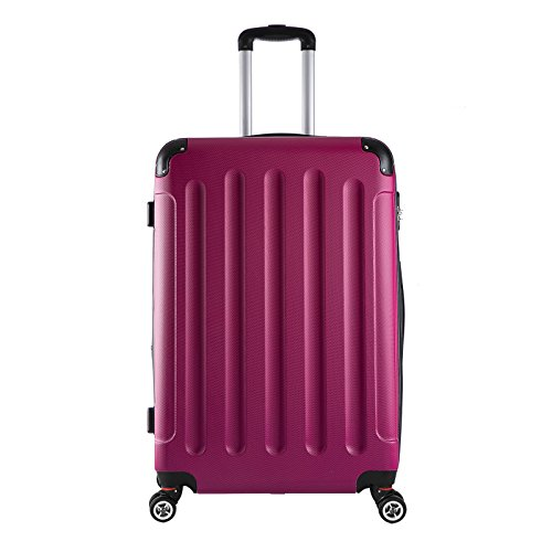 EUGAD #374 Reisekoffer Hartschale Koffer Trolley mit erweiterbare Volumen, Reise Koffer Trolley 4 Rollen, Hartschalenkoffer Handgepäck M/L/XL/Set, leicht und günstig, Pink (XL, 76 cm & 110 Liter)