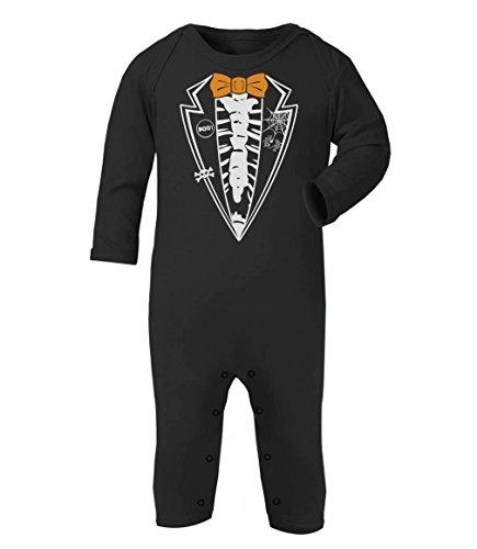 Halloween Skeleton Tuxedo Schwarz 3-6 Baby Strampler Strampelanzug (Niedliche Halloween Shirt Sprüche)