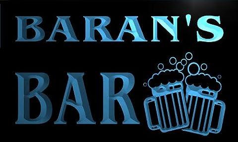 w005181-b BARAN'S Nom Accueil Bar Pub Beer Mugs Cheers Neon Sign Biere Enseigne Lumineuse