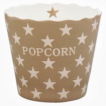 Krasilnikoff - Popcorn Schale, Schüssel - Taupe mit weißen Sternen - Taupe Star - Keramik - Höhe: 16 cm