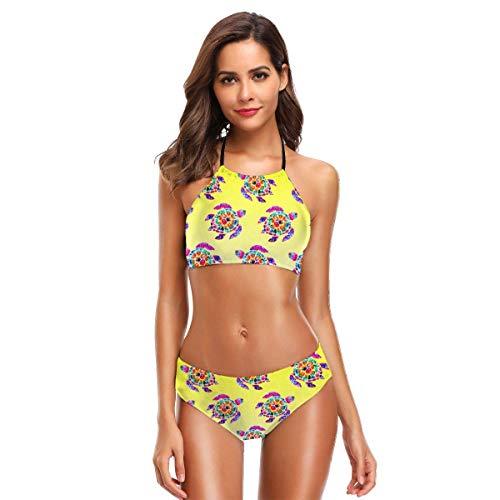 Osmykqe Colorful Early Tulips Women's High Neck Halter Bikini Set Beach Swimwear -