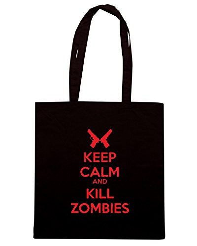 T-Shirtshock - Borsa Shopping TZOM0041 keep calm and kill zombies Nero