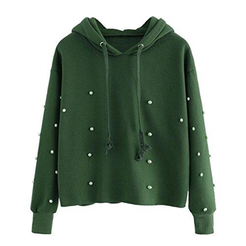Morwind Sweat à Capuche Femme, perle Embelli Manche Longue Pullover Femme Chic Top Sweatshirt Vert