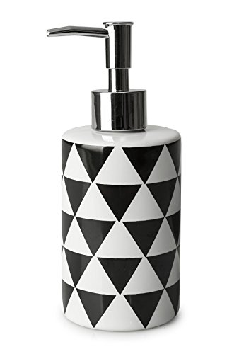 LUXURY MODERN GEO PORCELAIN STAINLESS STEEL BATHROOM SOAP DISPENSER BLACK IVORY WHITE
