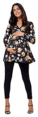 Chelsea Clark Women's Maternity Flower Pattern Empire Waist Top V-Neck 560p