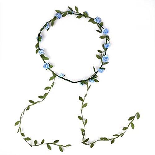 SODIAL(R) Bohemien Dames Floral Fleur Festival Mariage Guirlande Front Cheveux Bandeau - Bleu