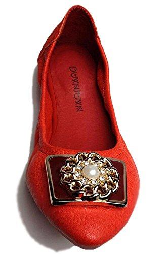 SHINIK Frauen Fold Up Ballett Pumps geformt Metall geknöpft Leder Schuhe Tanzen Schuhe Süßigkeiten Serie Falten Auto Schuhe Red