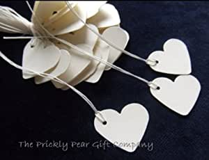 100 Small Cream Heart Tie On Price Tags- create strung tags for small gifts & Wedding favours - MADE IN THE UK