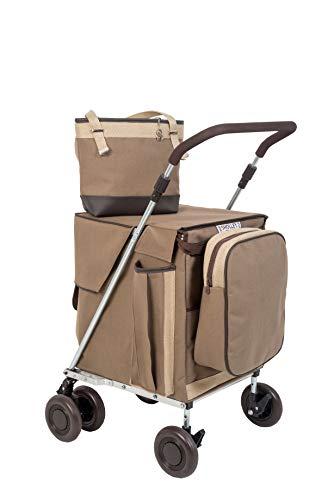 Sholley Premium Range 'The Hurlingham Combination' Einkaufstrolley, Einkaufstrolley mit 4 Rädern, 6 Rädern, Lebensmittelwagen, passende Handtasche, Kühltasche und Innentasche Petite - 5'3' and under
