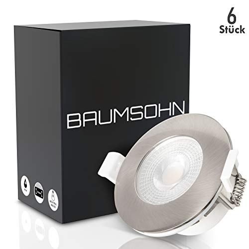 Baumsohn LED Einbaustrahler Bad 6er Set IP44 flach 5W 450lm LED Spots