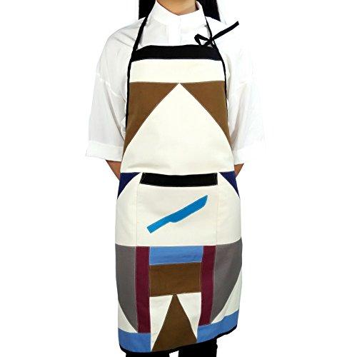 [Coltello da cucina] Patchwork Chef Work Apron Art Works Grembiule da donna con taschino