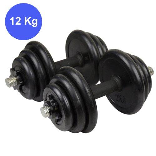Set 2 manubri e dischi kit palestra 12 kg pesi bilanciere fitness sport (nero, 12 kg)