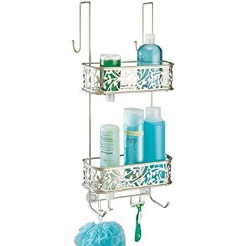 mDesign rangement de douche à suspendre à la porte de la douche – étagère de douche pratique – montage sans perçage – paniers de douche suspendus en acier affiné – pour tout accessoire de douche